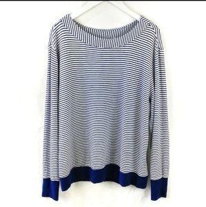 Athleta navy white stripe sweater